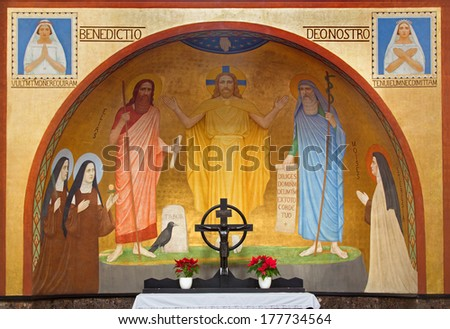 VIENNA, AUSTRIA - FEBRUARY 17, 2014: Jesus with the Moses and Eliah fresco by P. Verkade (1927) from side altar in Carmelites church in Dobling. - stock photo