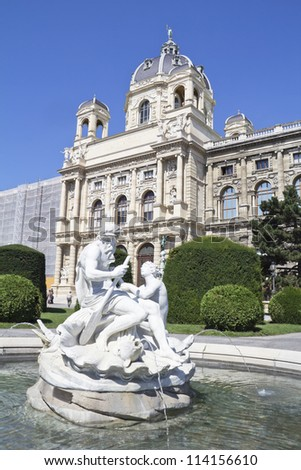 Vienna, Austria - fountain and Natural History Museum. The Old Town is a UNESCO World Heritage Site. - stock photo