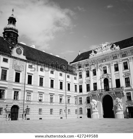 Vienna, Austria - Hofburg Palace courtyard. The Old Town is a UNESCO World Heritage Site. Black and white style. - stock photo