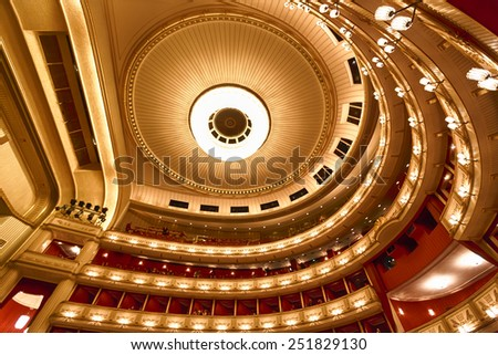 Vienna, Austria, January 06 2014: Balconies of Vienna Opera House indoor - stock photo
