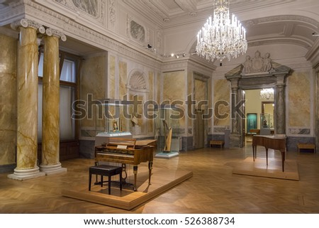 VIENNA, AUSTRIA, JULY 3,2016: Interior detail from The Collection of Historic Musical Instruments section of Kunsthistorisches Museum (Museum of Art History), Vienna, Austria.