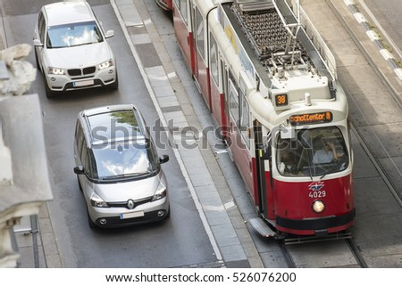 VIENNA, AUSTRIA, JULY 1,2016: Public transportation with cable car at the city center of Austria's capital city Vienna.