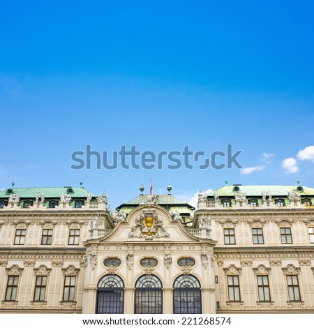 VIENNA, AUSTRIA-July 6 : The Belvedere is a historic building complex in Vienna, Austria, consisting of two Baroque palaces on July 6, 2014.Vienna, Austria - stock photo