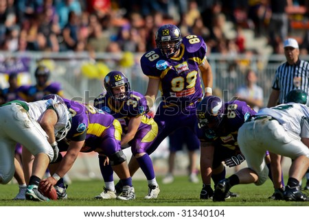 VIENNA, AUSTRIA - JUNE 1: Charity Bowl XI: QB Philipp Jobstmann (#31, Vikings) and his team  lose 14:64 to the Wesleyan Titans on June 1, 2009 in Vienna, Austria.