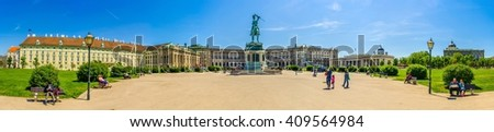 VIENNA, AUSTRIA, JUNE 6, 2015: panoramic view of heldenplatz square in vienna with famous buildings of hofburg, national library and memorial of Archduke Charles