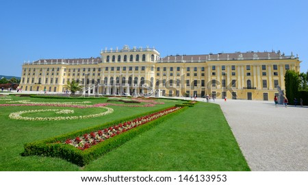 VIENNA, AUSTRIA - JUNE 22: Schonbrunn Palace and gardens on June, 22, 2013 in Vienna. One of the most important cultural monuments and one of the major tourist attractions in Vienna