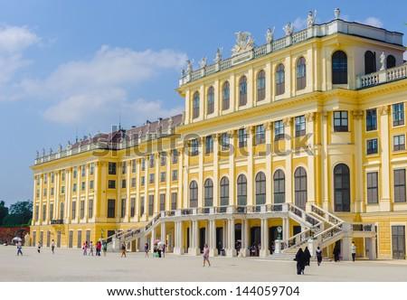 VIENNA, AUSTRIA - JUNE 17: Schonbrunn Palace on June, 17, 2013 in Vienna, Austria. It's a former imperial 1,441-room Rococo summer residence in modern Vienna, - stock photo