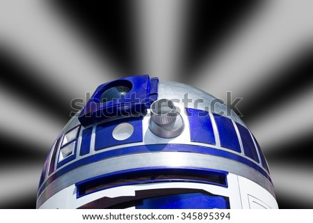 VIENNA, AUSTRIA, June 13, 2015: Star Wars characters, R2D2 at the Star Wars Celebration. - stock photo