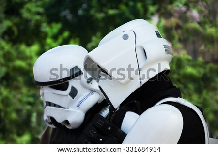 VIENNA, AUSTRIA, June 13, 2015: Star Wars characters,  stormtrooper and scout trooper at the Star Wars Celebration. - stock photo