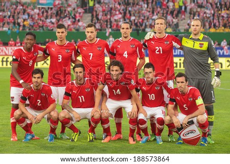 VIENNA,  AUSTRIA - JUNE  7 The Austrian team poses before the world cup qualifier game on June 7, 2013 in Vienna, Austria. - stock photo