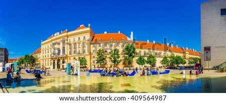 VIENNA, AUSTRIA, JUNE 15, 2015: The Museumsquartier is a large area in Vienna and is the eighth largest cultural area in the world (contains Baroque buildings as well as Modern architecture).