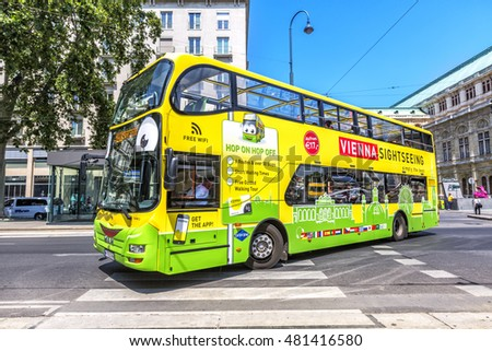 VIENNA, AUSTRIA - JUNE 24, 2016: Touristic bus in Vienna, Austria. Vienna Sightseeing is a touristic bus service that shows the city with an audio guide.