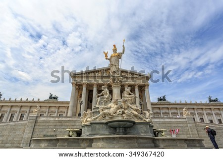 VIENNA, AUSTRIA - JUNE 27, 2015: View of to Belvedere Unteres Castle since 1712 is a masterpiece of Baroque Austrian and one of Europe's most beautiful princely residences. - stock photo