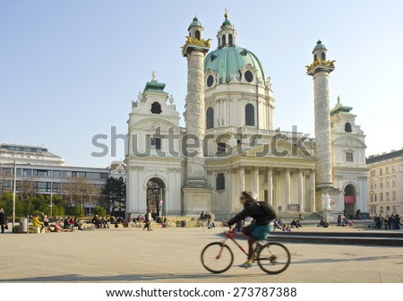 VIENNA, AUSTRIA - MARCH 19: exterior of St. Charles's Church (Karlskirche) on March 19, 2015 in Vienna, Austria. Karlskirche is a baroque church located on the south side of Karlsplatz in Vienna. - stock photo