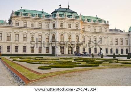 VIENNA, AUSTRIA - MARCH 19: exterior of Upper Belvedere Palace on March 19, 2015 in Vienna, Austria. The Upper Belvedere Palace was completed in 1723. - stock photo