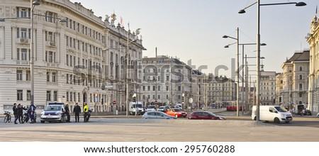 VIENNA, AUSTRIA - MARCH 19: Schwarzenbergplatz viewed from Hochstrahlbrunnen on March 19, 2015 in Vienna, Austria. Schwarzenbergplatz was redesigned in 2004 by the architect Alfredo Arribas.  - stock photo