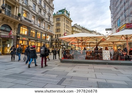 VIENNA, AUSTRIA- MARCH 6, 2016: Urban life and shop between side way in the pedestrianized old town Vienna. Austria, on March 6, 2016