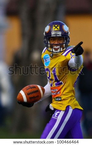 VIENNA, AUSTRIA - MARCH 20 WR Laurinho Walch (#81 Vikings) celebrates the victory on March 20th, 2011 in Vienna, Austria. The Vienna Vikings beat the Salzburg Bulls 65:7. - stock photo