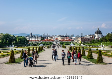 VIENNA, AUSTRIA - MAY 8, 2016: Between Unteres Belvedere and Oberes Belvedere lies Colorful Belvedere garden. It was laid out between 1700 and 1725 by Dominique Girard in formal French style.