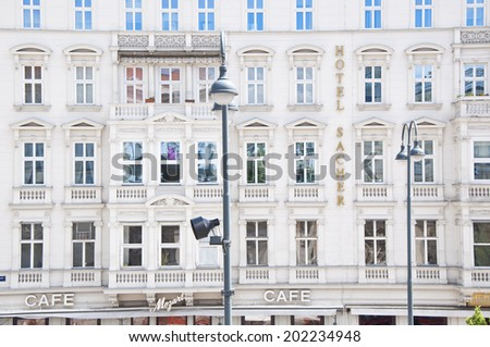 VIENNA, AUSTRIA - MAY 5: Hotel Sacher on May 5, 2014 in Vienna. In 1963 out of court settlement gave the Hotel Sacher the rights to offer The Original Sachertorte.