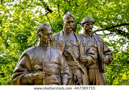 Vienna, Austria - May 05, 2013: Monument to the Ukrainian Cossacks on Leopoldsberg who participated in the liberation of Vienna from the Turkish siege in 1683.
