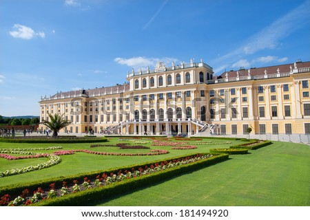 VIENNA, AUSTRIA - MAY 29, 2011: Schonbrunn Palace is a World Cultural Heritage site and Austria's most-visited sight. - stock photo