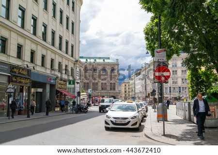 VIENNA, AUSTRIA - MAY 31, 2016: Street scene of Albertina square and Tegetthoffstrasse with State Opera, traffic and people in inner city of Vienna, Austria