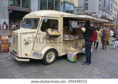 VIENNA, AUSTRIA - MAY 25TH, 2015: Car for selling different village products in the centre of Vienna,  Austria.