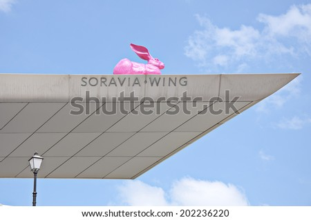 VIENNA, AUSTRIA - MAY 5: The entrance to the Albertina museum on May 5, 2014 in Vienna. A model of Durer's pink hare and titanium wing canopy mark the entrance to the Albertina museum.