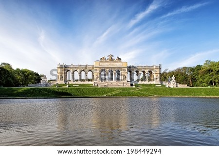 VIENNA, AUSTRIA - MAY 3: The Schonbrunn Palace Garden Gloriette on May 3, 2014 in Vienna. The building was used as a dining and festival hall and as a breakfast room for emperor Franz Joseph. - stock photo