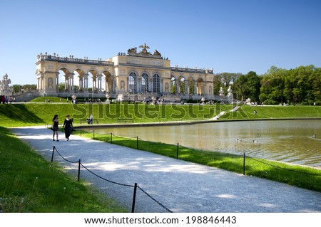 VIENNA, AUSTRIA - MAY 3: The Schonbrunn Palace Garden Gloriette on May 3, 2014 in Vienna. The building was used as a dining and festival hall and as a breakfast room for emperor Franz Joseph.