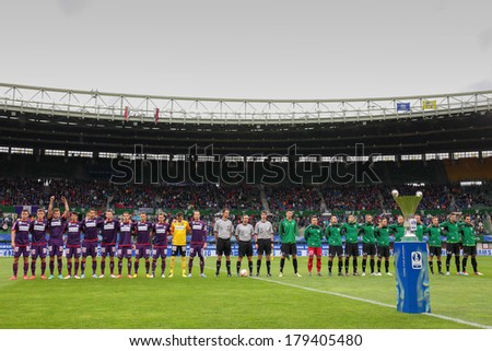 VIENNA,  AUSTRIA - MAY 30 The teams of FK Austria Wien and FC Pasching pose before the Austrian cup final game on May 30, 2013 in Vienna, Austria. - stock photo