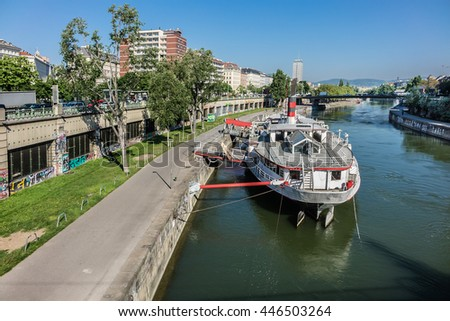 VIENNA, AUSTRIA - MAY 9, 2016: Vienna cityscape with the Danube channel (Donaukanal).