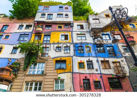 VIENNA, AUSTRIA - 2ND AUGUST 2015: A view of the outside of buildings in Hundertwasserhaus in Vienna during the day. - stock photo