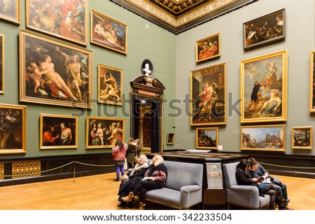 VIENNA, AUSTRIA - NOV 17, 2015: Gallery of the Kunsthistorisches Museum (Museum of Art History). It was open in 1891 - stock photo