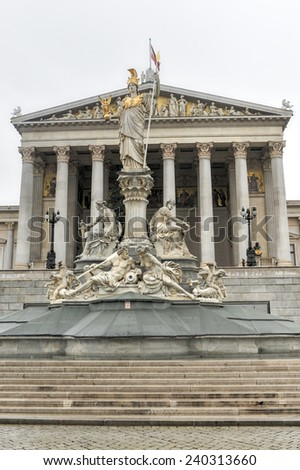 VIENNA, AUSTRIA - NOVEMBER 30, 2014: The historic building of the Austrian Parliament in Vienna