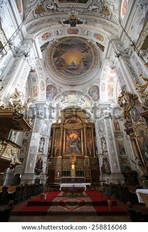 VIENNA, AUSTRIA - OCTOBER 10: Altar in Dominican Church in Vienna, Austria on October 10, 2014. Famous baroque church was completed in 1634. - stock photo