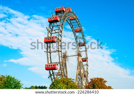VIENNA, AUSTRIA - OCTOBER 12, 2014: Giant Ferris Wheel in Prater Park, Vienna, Austria  - stock photo