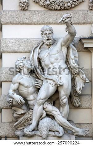 VIENNA, AUSTRIA - OCTOBER 10: Hercules statue at the Royal Palace Hofburg in Vienna, Austria on October 10, 2014. - stock photo