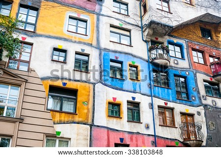 VIENNA, AUSTRIA - OCTOBER 18, 2015:  Hundertwasser Haus in Vienna, Austria. The iconic building was finished in 1985 and is one of finest examples of expressionist architecture.