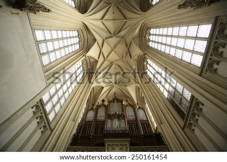 VIENNA, AUSTRIA - OCTOBER 10: Interior of Maria am Gestade church in Vienna. Famous gothic church was consecrated in 1414 and is one of oldest churches in Vienna, Austria on October 10, 2014. - stock photo
