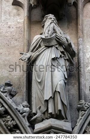 VIENNA, AUSTRIA - OCTOBER 10: Saint Elijah, Votivkirche (The Votive Church). It is a neo-Gothic church in Vienna, Austria on October 10, 2014 - stock photo