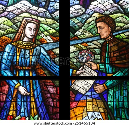 VIENNA, AUSTRIA - OCTOBER 11: Stained glass in Votiv Kirche (The Votive Church). It is a neo-Gothic church in Vienna, Austria on October 11, 2014 - stock photo