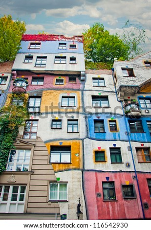VIENNA, AUSTRIA - OCTOBER 18: The Hundertwasser House on october 18, 2012 in Vienna. Has become part of Austria's cultural heritage. Concept of artist Friedensreich Hundertwasser. - stock photo