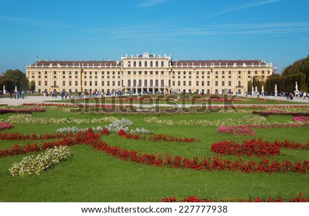 VIENNA, AUSTRIA - OCTOBER 19, 2014: The Schonbrunn palace and gardens.