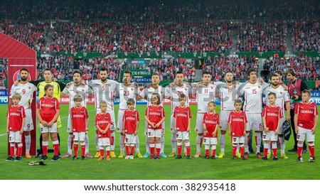 VIENNA, AUSTRIA - OCTOBER 12, 2014: The team of Montenegro poses before the game against Austria in an European Championship qualifying game. - stock photo