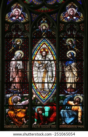 VIENNA, AUSTRIA - OCTOBER 11: Transfiguration on Mount Tabor, Stained glass in Votiv Kirche (The Votive Church). It is a neo-Gothic church in Vienna, Austria on October 11, 2014 - stock photo