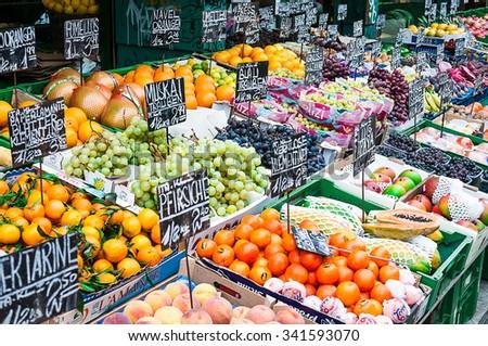 VIENNA, AUSTRIA - OCTOBER 16, 2015: Vegetable stand at a market Naschmarkt in Vienna, Austria - stock photo