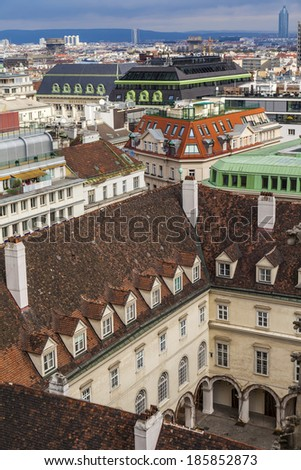 Vienna, Austria, on March 24, 2014. View of the city from a survey platform of the Cathedral of Saint Stefan