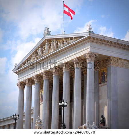 Vienna, Austria - Parliament of Austria. The Old Town is a UNESCO World Heritage Site. Square composition. - stock photo